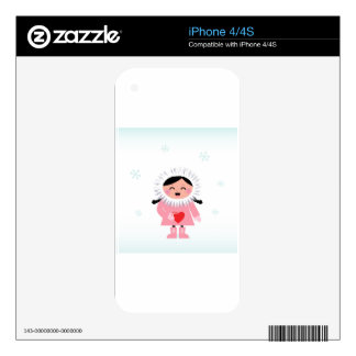 Little winter Russia Eskimo girl with Love heart iPhone 4 Decals