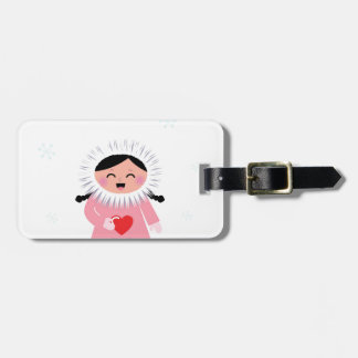 Little winter Russia Eskimo girl with Love heart Luggage Tag