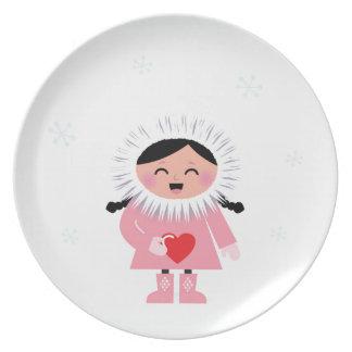 Little winter Russia Eskimo girl with Love heart Melamine Plate