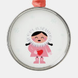 Little winter Russia Eskimo girl with Love heart Metal Ornament