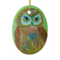 Little Wise Owl Ceramic Ornament