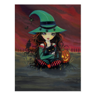 Little Witch and Black Cat Halloween Postcard