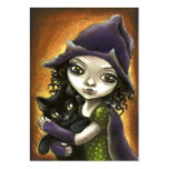 Little witch and black kitten large business cards (Pack of 100)