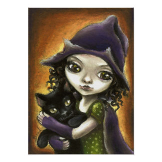 Little witch and black kitten poster