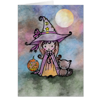 Little Witch and Cat Halloween Card