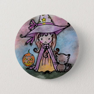 Little Witch and Cat Halloween Pinback Button