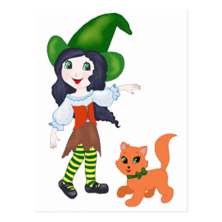 Little Witch and Cat Postcard