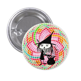 little witch and sacred geometry pinback button