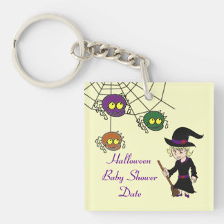 Little Witch and Spider Baby Shower Key Chains