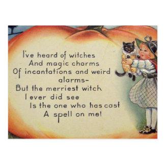 Little Witch & Cat (Vintage Halloween Card) Postcard