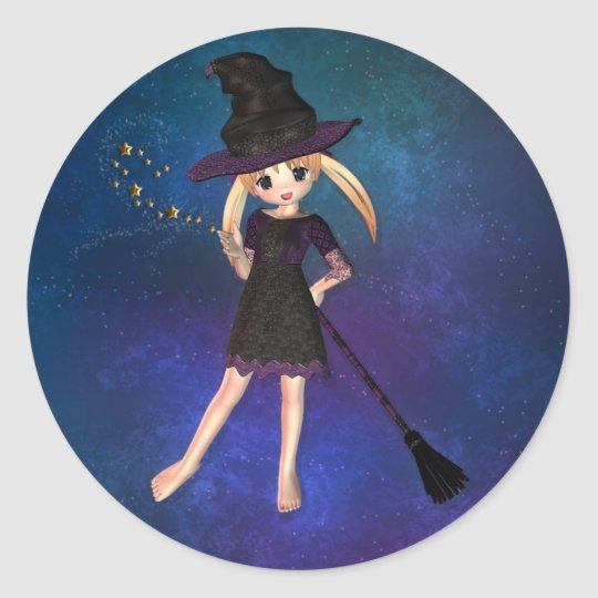 Little Witch Classic Round Sticker