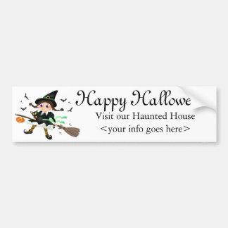 Little witch flying bumper sticker