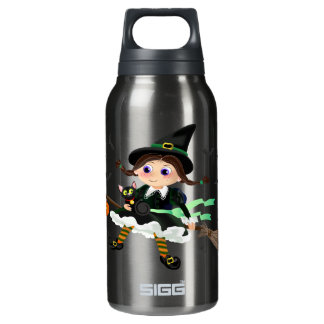 Little witch flying insulated water bottle