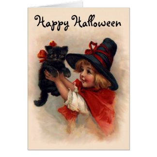 Little Witch Girl Greeting Card
