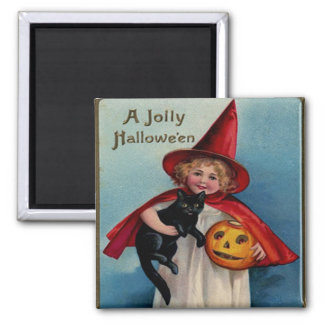 Little Witch Girl With Her Black Cat 2 Inch Square Magnet