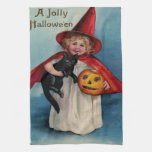 Little Witch Girl With Her Black Cat Hand Towels