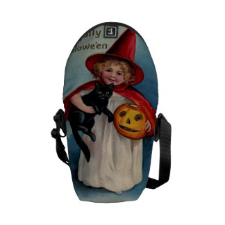 Little Witch Girl With Her Black Cat Messenger Bag