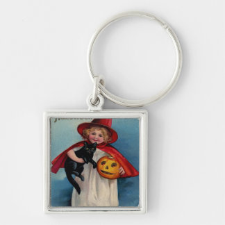 Little Witch Girl With Her Black Cat Silver-Colored Square Keychain
