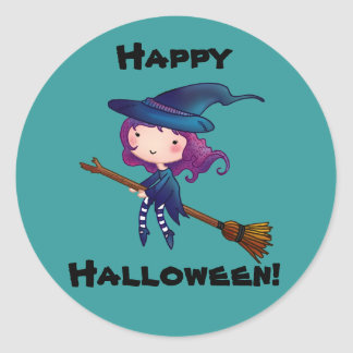 Little witch happy halloween stickers