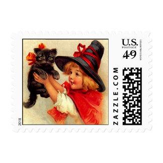 LITTLE WITCH &KITTEN HALLOWEEN STAMPS MATCH INVITE