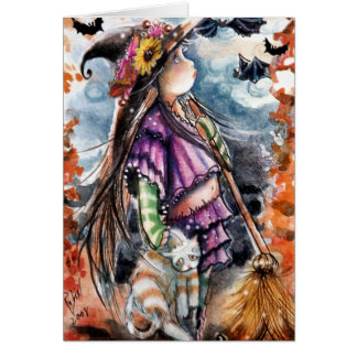 Little Witch & Kitty Card Greeting Card