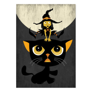 Little Witch Playing Leap Frog with Black Cat Business Card Templates