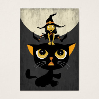 Little Witch Playing Leap Frog with Black Cat Business Card