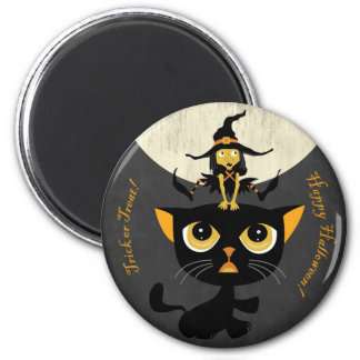 Little Witch Playing Leap Frog with Black Cat Magnet