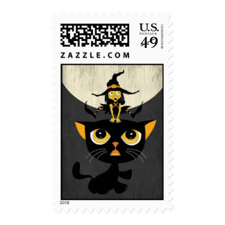 Little Witch Playing Leap Frog with Black Cat Postage Stamps