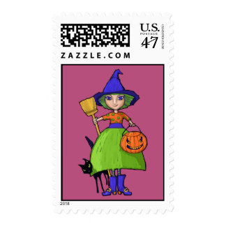 Little Witch plum Postage Stamp