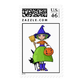 Little Witch Postage Stamp stamp