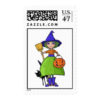 Little Witch Postage Stamp