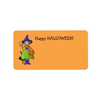 Little Witch pumpkin Gift Tag label