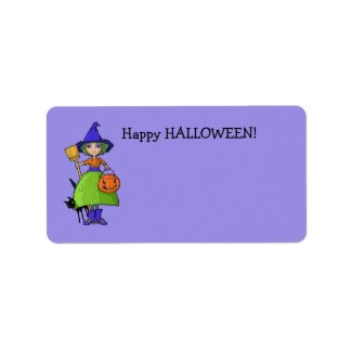 Little Witch purple Gift Tag label