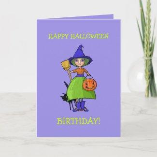 Little Witch purple Halloween Birthday Card card