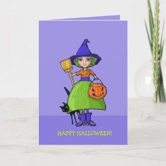 Little Witch purple Halloween Card card