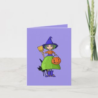 Little Witch purple Halloween Note Card card