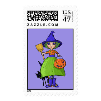 Little Witch purple Postage Stamp