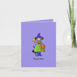 Little Witch purple Thank You Note Card card