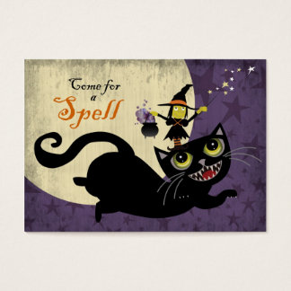 Little Witch Riding on a Flying Black Cat Business Card