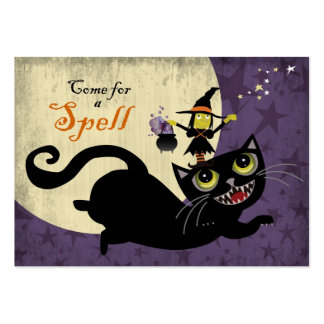 Little Witch Riding on a Flying Black Cat Large Business Cards (Pack Of 100)