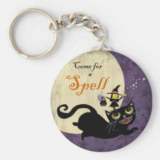 Little Witch Riding on a Flying Black Cat Keychain