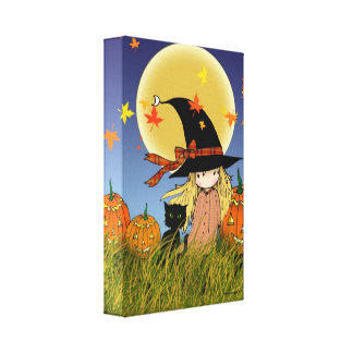 Little Witch with Black Cat Halloween Canvas Print