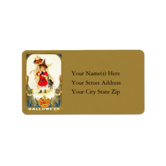 Little Witch With Black Cats Vintage Address Label