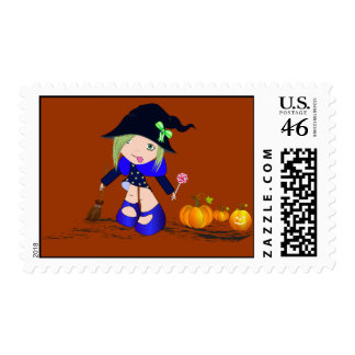 Little Witch With Pumpkin, Stamp