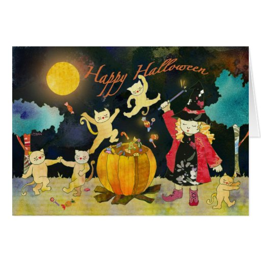 Little Witch's Magic Cauldron: Happy Halloween! Greeting Card
