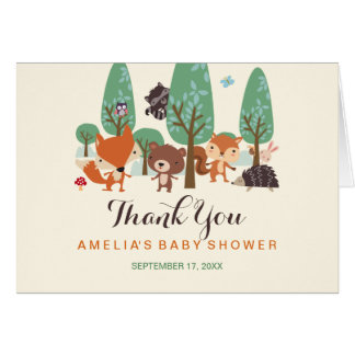 Little Woodland Friends Baby Shower Thank You Card