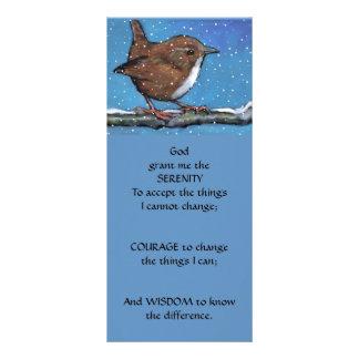 Little Wren in Snow: Art: SERENITY PRAYER Personalized Rack Card