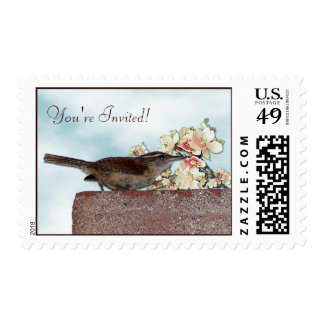 Little Wren with Cherry Blossoms You're Invited Postage