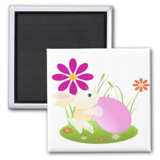 Little Yellow Baby Bunny With Flowers 2 Inch Square Magnet